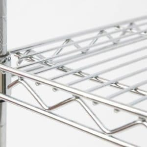 Stainless steel wire shelving.