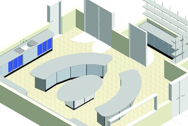 3D CAD image of proposed primary school STEM room with central pod for demonstrations/group work
