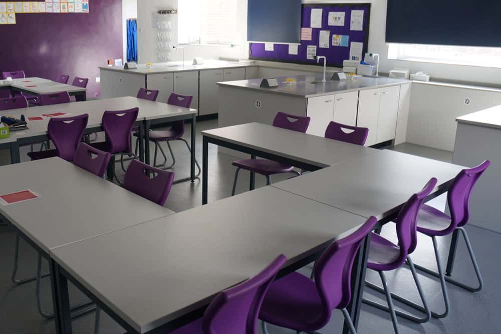 Science laboratory theory area with co-ordinating chairs
