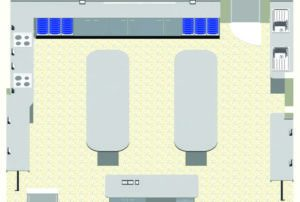 Trinity C E Primary School – 3D CAD image of STEM room featuring 2 hobs & 2 sinks