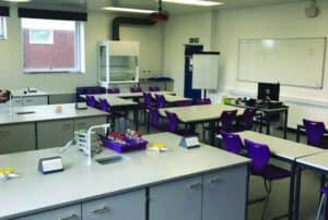 After refurbishment - New science laboratory with contemporary Velstone work surfaces and modern features