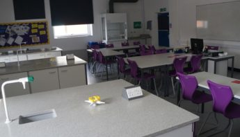 After refurbishment - New science lab with contemporary Velstone work surfaces