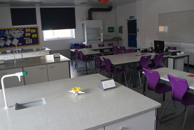 After refurbishment – New science lab with contemporary Velstone work surfaces