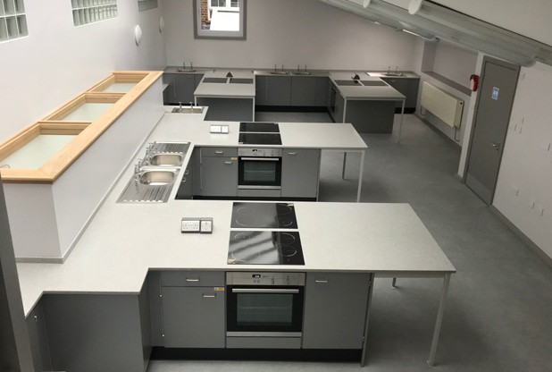 Primary school food technology room overview the refurbishment makes the most of limited space.