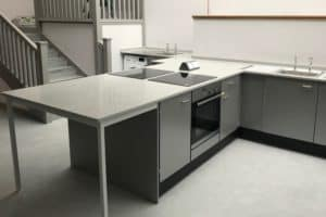 food technology room peninsula with integral seating space