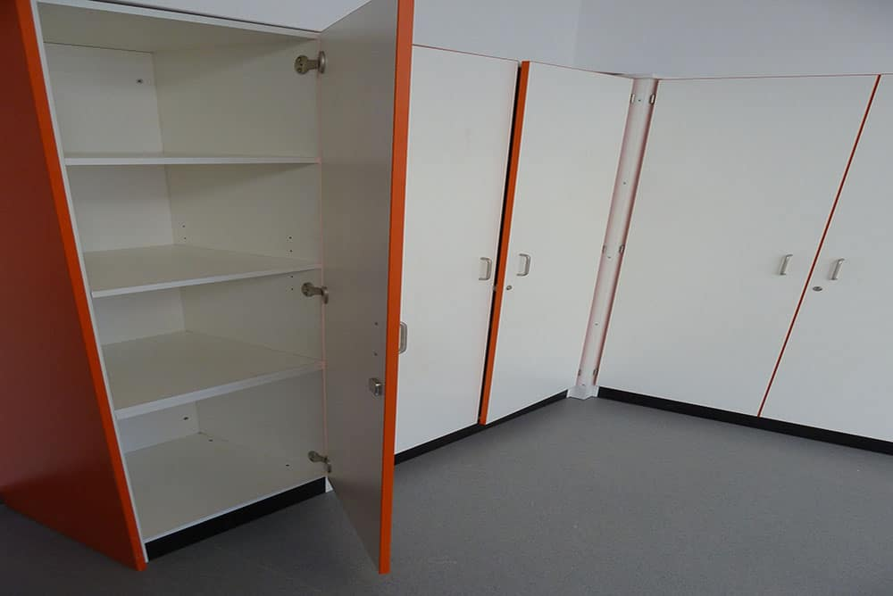 Tall storage unit. with contrast edging detail